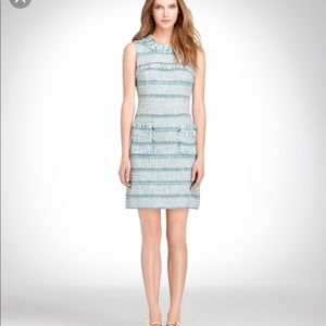 • Tory Burch • Curtis Tweed Ribbon Dress Teal Blue